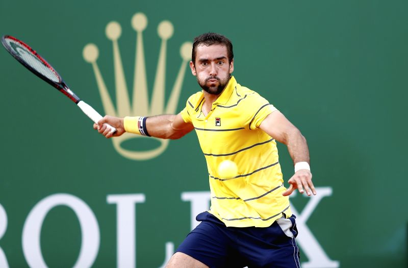ROQUEBRUNE-CAP-Marin Cilic of Croatia returns the ball to Fernando Verdasco of Spain during the second round match of 2018 Monte-Carlo Masters in ...