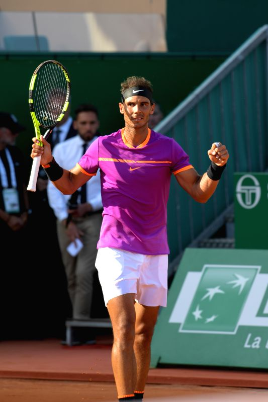 ROQUEBRUNE-CAP-Rafael Nadal of Spain celebrates his victory after the semifinal match with David Goffin of Belgium at the ATP World Tour Masters Monte Carlo in ...