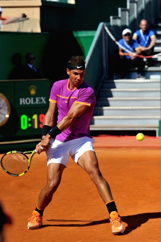 Roquebrune-Cap-Rafael Nadal of Spain returns the ball during a round of 16 match against Alexander Zverev of Germany at the ATP World Tour Masters Monte Carlo in ...