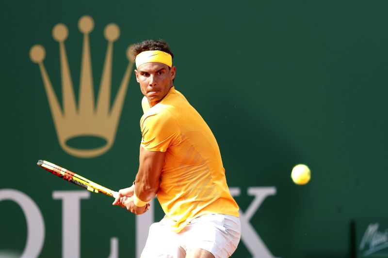 ROQUEBRUNE-CAP-Rafael Nadal of Spain returns the ball to Aljaz Bedene of Slovenia during the second round match of 2018 Monte-Carlo Masters in ...