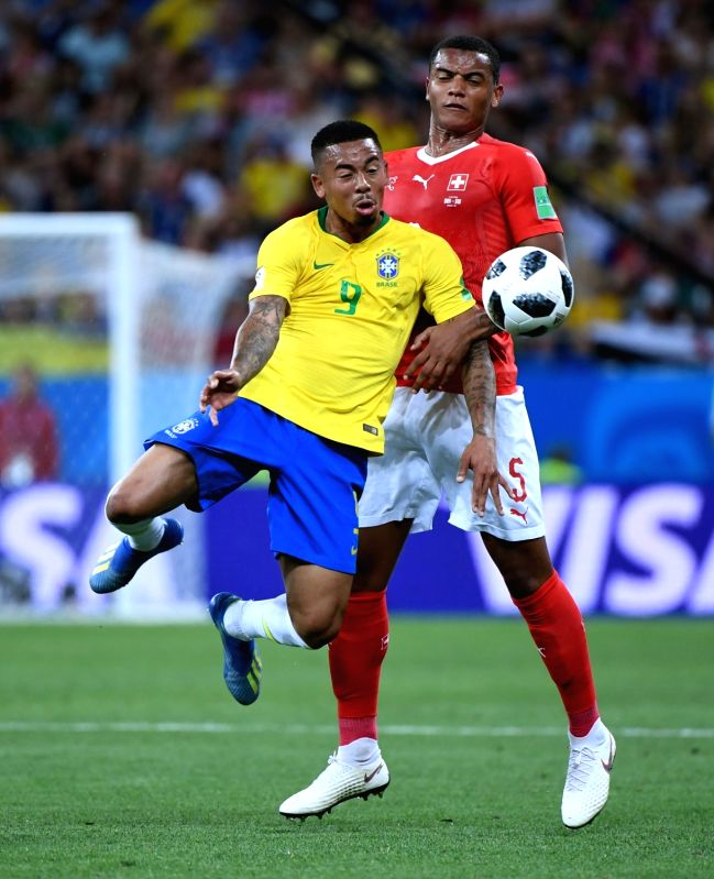 ROSTOV-ON-Gabriel Jesus (L) of Brazil vies with Manuel Akanji of Switzerland during a group E match between Brazil and Switzerland at the 2018 FIFA World Cup in ...