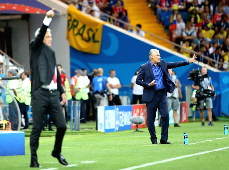 ROSTOV-ON-Head coach Tite (R) of Brazil reacts during a group E match between Brazil and Switzerland at the 2018 FIFA World Cup in Rostov-on-Don, Russia, June 17, 2018. ...
