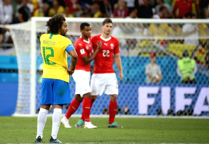 ROSTOV-ON-Marcelo (L) of Brazil reacts after a group E match between Brazil and Switzerland at the 2018 FIFA World Cup in Rostov-on-Don, Russia, June 17, 2018. The ...
