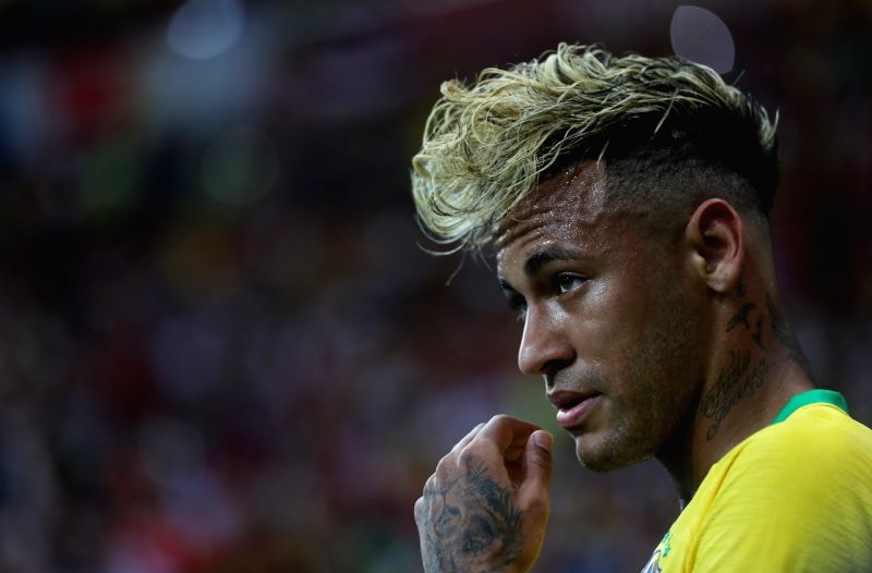 ROSTOV-ON-Neymar of Brazil reacts during a group E match between Brazil and Switzerland at the 2018 FIFA World Cup in Rostov-on-Don, Russia, June 17, 2018.(Image Source: Xinhua/Lu Jinbo/IANS)