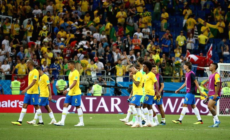 :ROSTOV-ON-Players of Brazil leave the field after a group E match between Brazil and Switzerland at the 2018 FIFA World Cup in Rostov-on-Don, Russia, June 17, 2018. ...