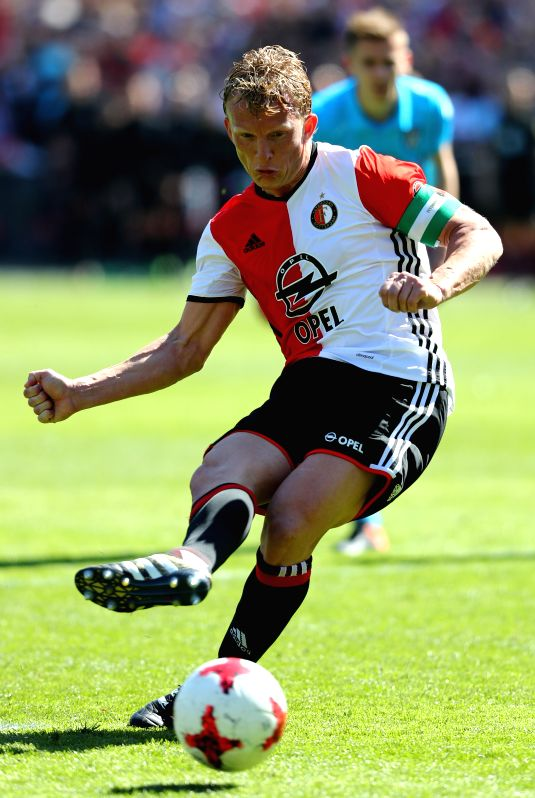 ROTTERDAM, May 15, 2017 - Feyenoord Rotterdam's Dirk Kuyt scores a penalty during the Dutch Eredivisie match between Feyenoord Rotterdam and Heracles Almelo in Rotterdam, the Netherlands, May 14, ...