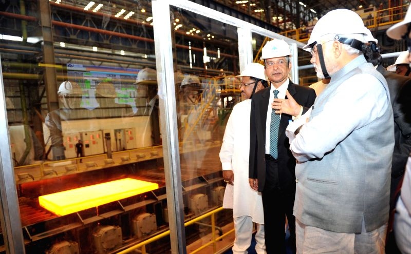 Prime Minister Narendra Modi visits the Rourkela Steel Plant in Odisha on April 1, 2015. - Narendra Modi