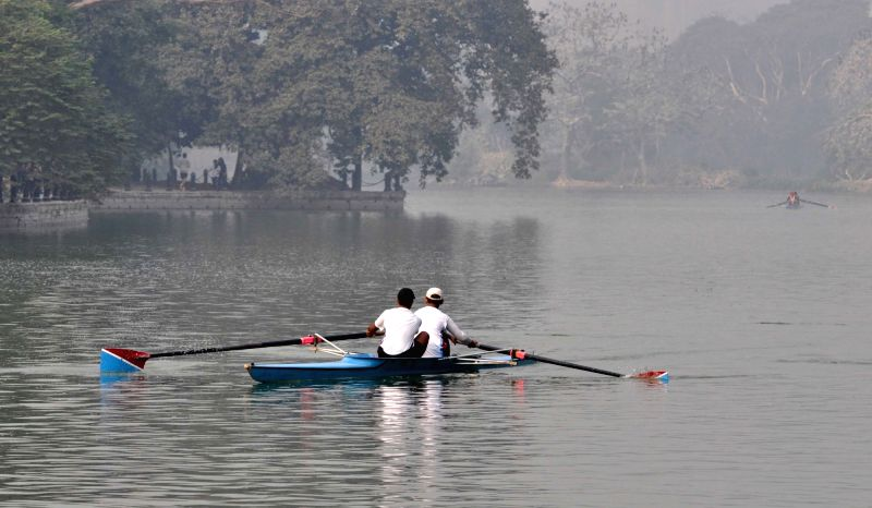 Rowers practice at Rabindra Sarobar in Kolkata on Dec 8, 2015