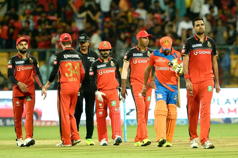 Royal Challengers Bangalore after getting defeated by Gujarat Lions in an IPL 2017 match between Gujarat Lions and Royal Challengers Bangalore at M Chinnaswamy Stadium in Bengaluru on ...