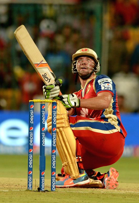 Royal Challengers Bangalore batsman AB de Villiers in action during the 24th match of IPL 2014 between Sunrisers Hyderabad and Royal Challengers Bangalore at M Chinnaswamy Stadium in Bangalore on May