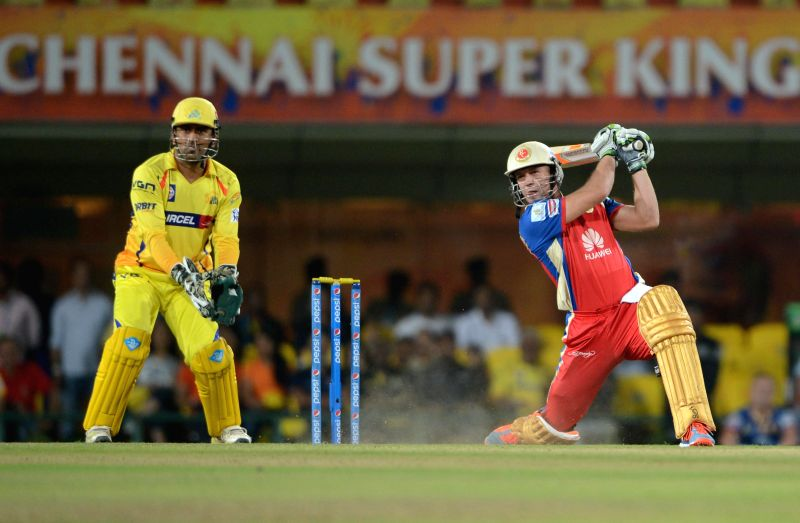Royal Challengers Bangalore batsman AB de Villiers in action during 42nd match of IPL 2014 between Chennai Super Kings and Royal Challengers Bangalore, played at JSCA International Stadium Complex in