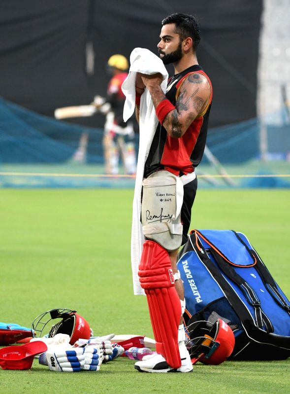 Royal Challengers Bangalore captain Virat Kohli during a practice session at Eden Gardens in Kolkata on April 22, 2017. - Virat Kohli