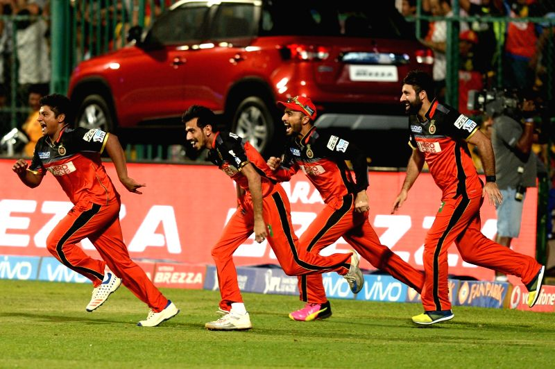Royal Challengers Bangalore celebrate after winning the Qualifier 1 of IPL 2016 between Gujarat Lions and Royal Challengers Bangalore at M Chinnaswamy Stadium in Bengaluru on May 24, 2016.