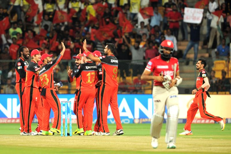 Royal Challengers Bangalore celebrate fall of Hashim Amla's wicket during an IPL 2017 match between Royal Challengers Bangalore and Kings XI Punjab at M Chinnaswamy Stadium in Bengaluru, ...