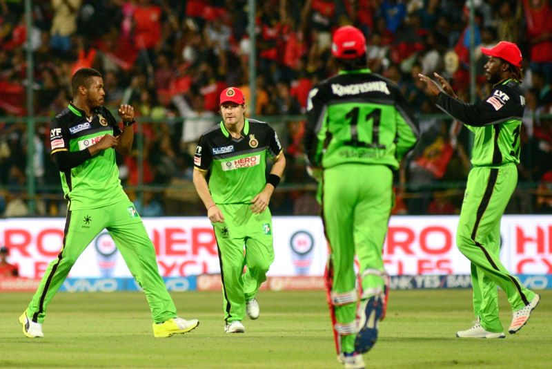 Royal Challengers Bangalore celebrate fall of a wicket during an IPL match between Royal Challengers Bangalore and Gujarat Lions at Bangalore at M Chinnaswamy Stadium in Bengaluru on May ...