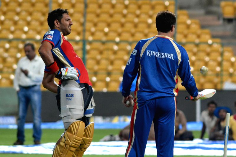 Royal Challengers Bangalore player Yuvraj Singh during a practice session at Chinnaswamy Stadium in Bangalore on  May 8, 2014. - Yuvraj Singh