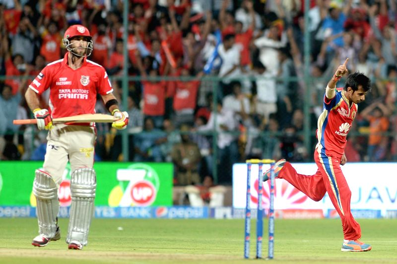 Royal Challengers Bangalore player Yuzvendra Chahal celebrates fall of Kings XI Punjab batsman Glenn Maxwell's wicket during the 31st match of IPL 2014 between Kings XI Punjab and Royal Challengers .. - Glenn Maxwel