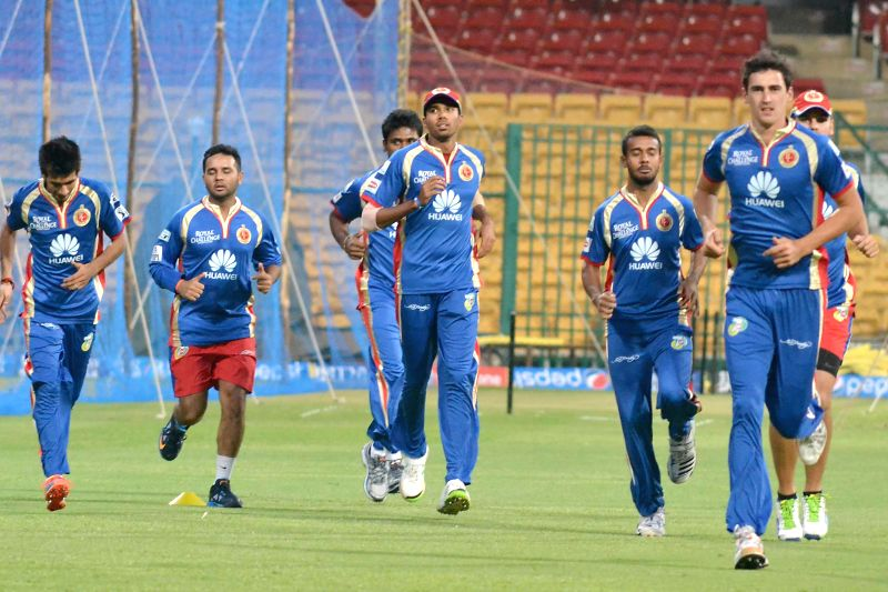 Royal Challengers Bangalore players during a practice session, in Bangalore on May 3, 2014.