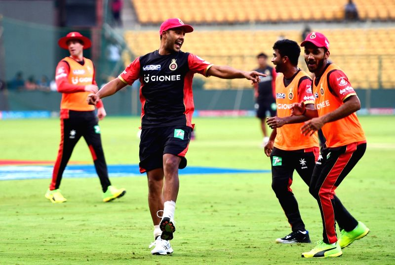 Royal Challengers Bangalore players during a practice session ahead of an IPL 2017 match at M Chinnaswamy Stadium in Bengaluru on May 4, 2017.