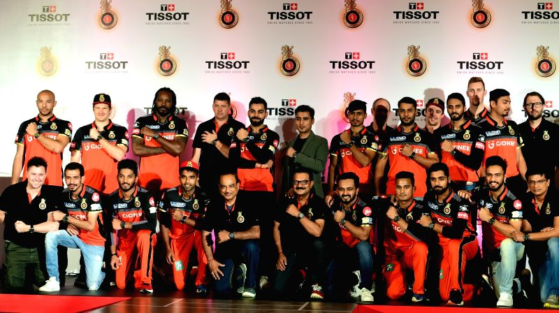 Royal Challengers Bangalore (RCB) players during a promotional event in Bengaluru on May 10, 2017.