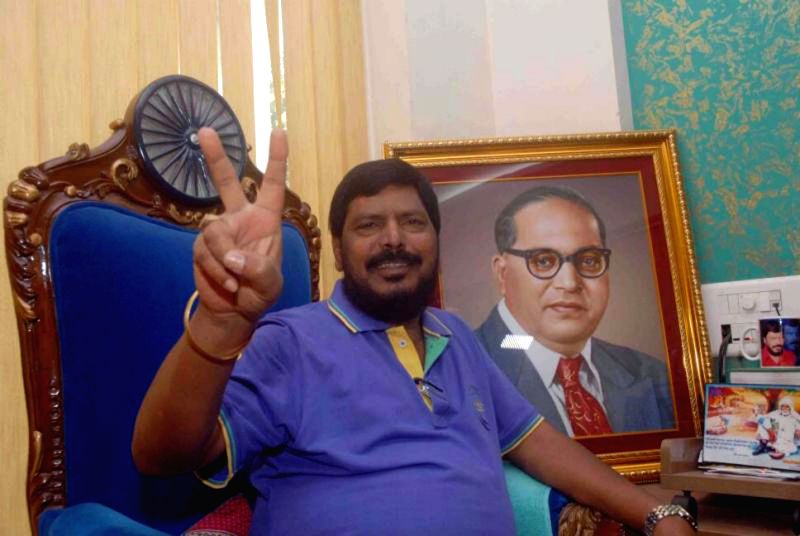 RPI Chief Ramdas Athawale celebrates the performance of Mahayuti which comprises of BJP, Shiv Sena, Republican Party of India (RPI –A), Rashtriya Samaj Paksha (RSP) and Swabhiman Shetkari Sanghatna