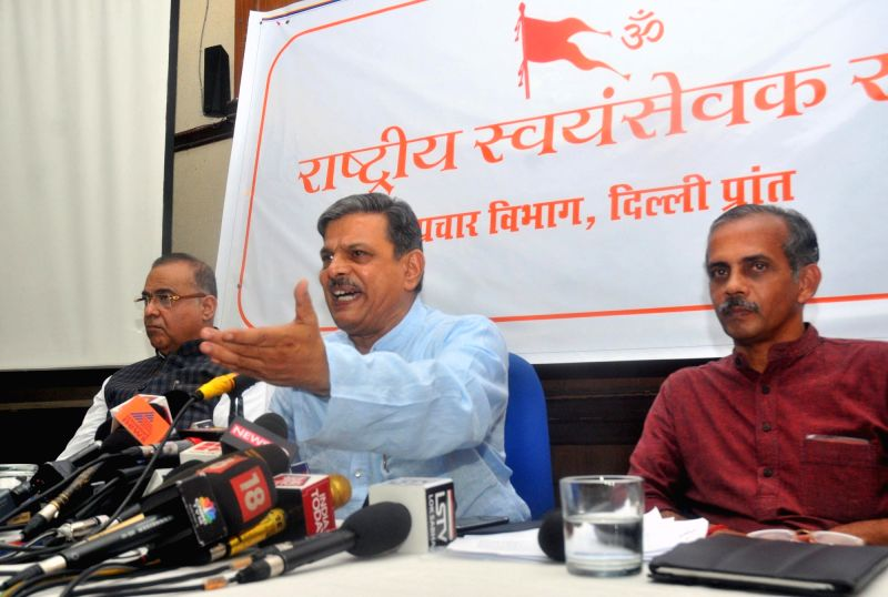 RSS Joint General Secretary Dattatreya Hosabale addresses a press conference regarding court-monitored probe into killing of RSS Kerala workers; in New Delhi on Aug 4, 2017.