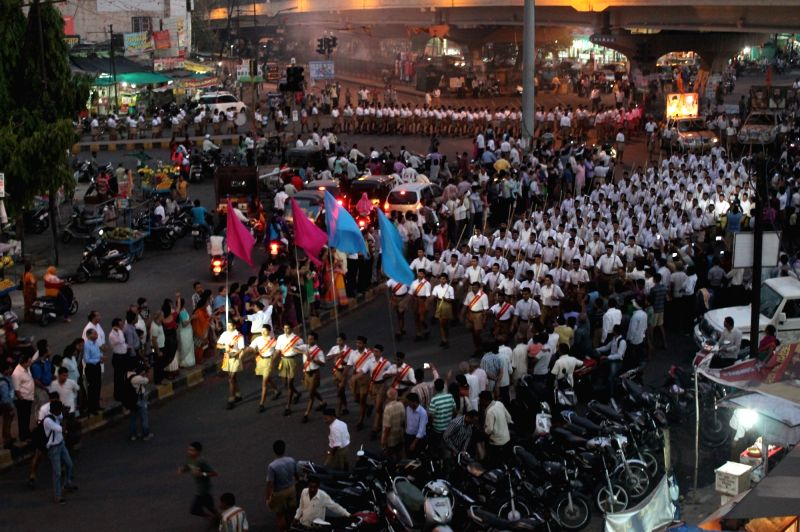 RSS volunteers participate in a Path Sanchalan ceremony in Nagpur on May 30, 2016.