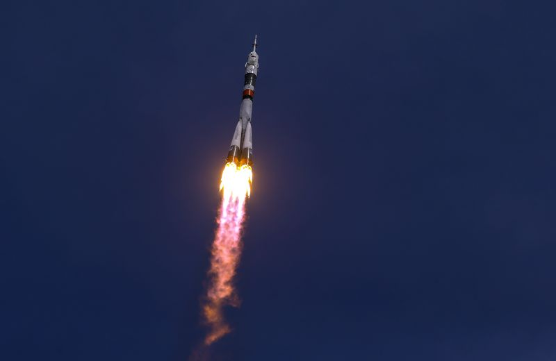 Russia's Soyuz MS-04 spacecraft blasts off from the launch pad at Baikonur cosmodrome in Kazakhstan on April 20, 2017. Russia on Thursday successfully ...