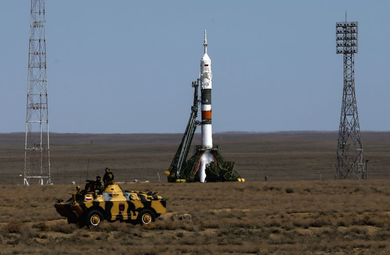 Russia's Soyuz MS-04 spacecraft is seen before launch at Baikonur cosmodrome in Kazakhstan on April 20, 2017. Russia on Thursday successfully launched ...