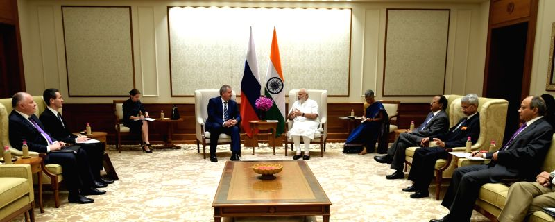 Russian Deputy Prime Minister Dmitry Rogozin calls on Prime Minister Narendra Modi in New Delhi on May 10, 2017. - Dmitry Rogozin and Narendra Modi