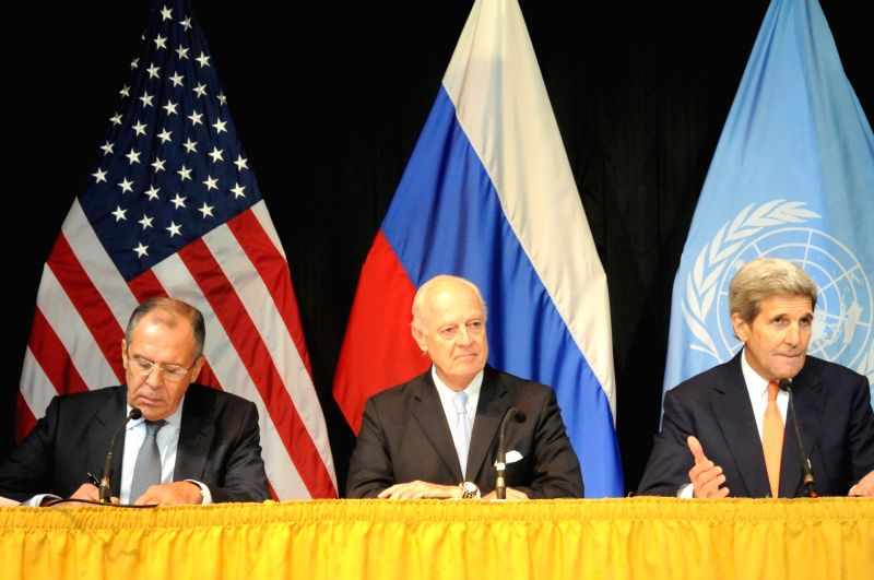 Russian Foreign Minister Sergei Lavrov, United Nations Special Envoy for Syria Staffan de Mistura and U.S. Secretary of State John Kerry (L to R) attend a press ... - Sergei Lavrov