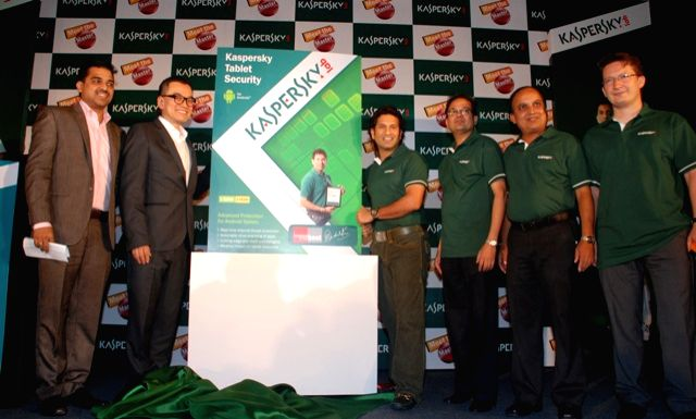 Sachin Tendulkar, the brand ambassador of Kasperskey, with Altaf Halde, Harry Cheung, MD of APAC, K. Ravi Laxman, Jagannath Patnaik and Sergey Ivanov during the launch of Kaspersky tablet security...