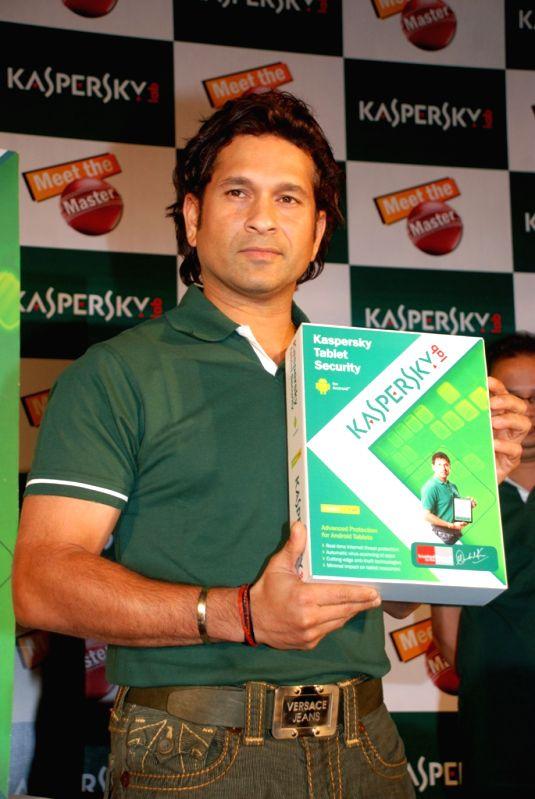 Sachin Tendulkar, the brand ambassador of Kasperskey during the launch of Kaspersky tablet security launch in Mumbai.