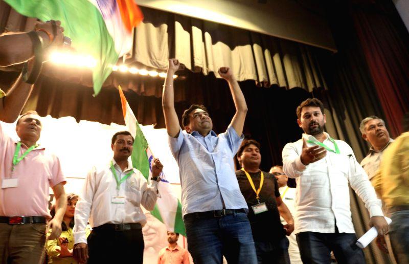 Sacked Delhi Minister Kapil Mishra addresses during India Against Corruption 2.0 in New Delhi, on June 2, 2017. - Kapil Mishra