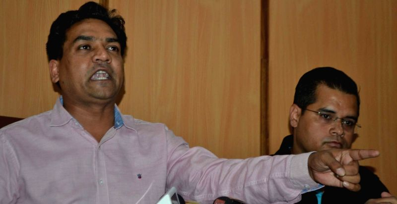 Sacked Delhi minister Kapil Mishra addresses a press conference in New Delhi on June 2, 2017. - Kapil Mishra