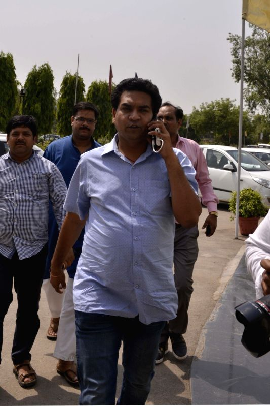 Sacked Delhi Minister Kapil Mishra arrives at Delhi Assembly in New Delhi on May 9, 2017. - Kapil Mishra