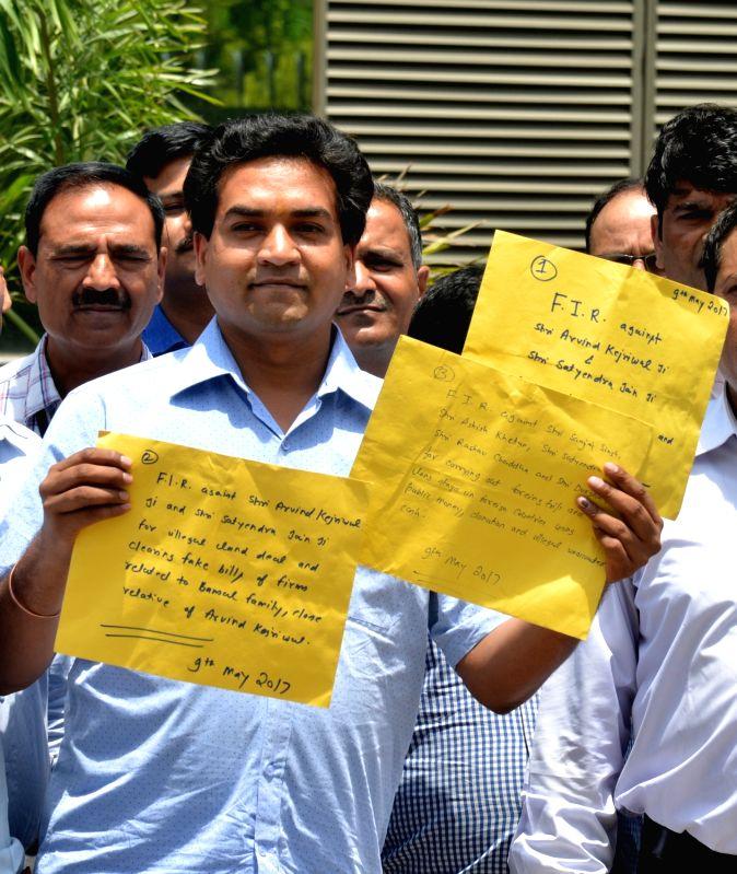 Sacked Delhi minister Kapil Mishra at CBI office in New Delhi on May 9, 2017. - Kapil Mishra