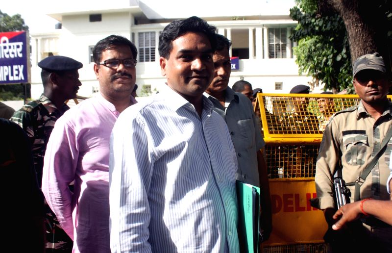 "Sacked Delhi Minister Kapil Mishra comes out after meeting ACB chief MK Meena in New Delhi on June 13, 2017. Mishra submitted documents regarding distribution of ""fake CNG kits"" ... - Kapil Mishra"