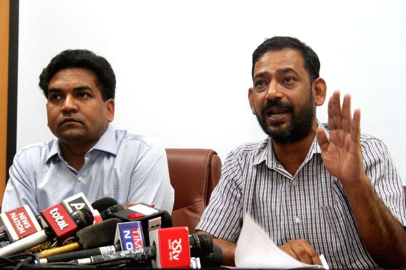 Sacked Delhi Minister Kapil Mishra during a press conference in New Delhi on June 8, 2017. - Kapil Mishra