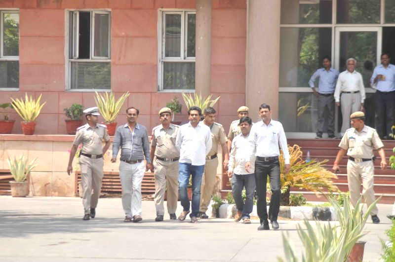 Sacked Water Minister Kapil Mishra arrives at Anti-Corruption Bureau (ACB) office in New Delhi, on May 11, 2017. - Kapil Mishra