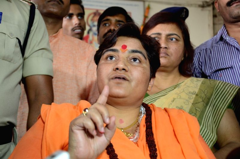 Sadhvi Pragya Singh Thakur addresses a press conference in Bhopal on April 27, 2017.