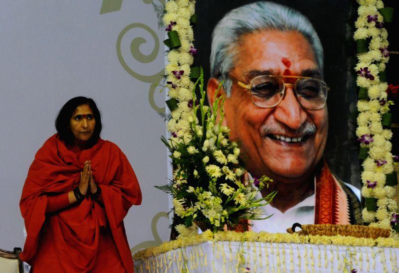 Sadhvi Rithambara during the condolence meet of late VHP leader Ashok Singhal in New Delhi, on Nov 22, 2015.