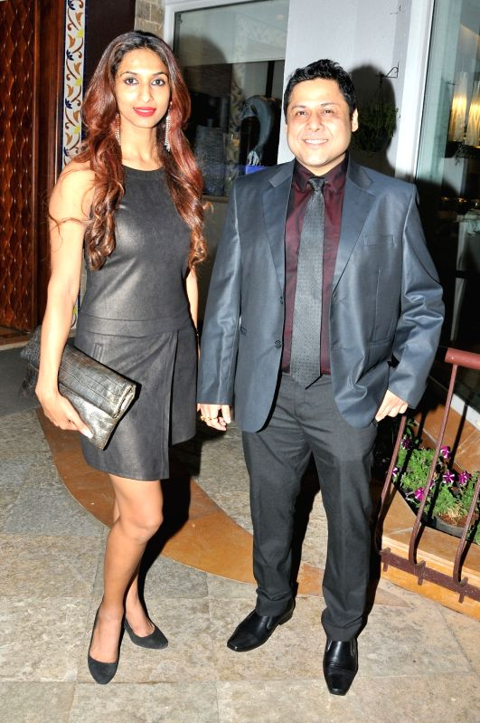 Sahadeb Chowdhury with SAndhya Shetty during the Gold Reel Productions launch party in Mumbai Dec 1, 2015