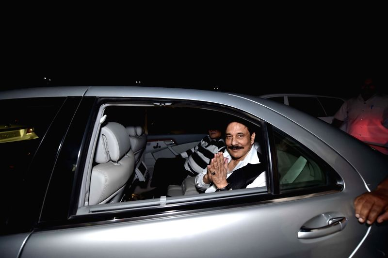 Sahara chief Subrata Roy reaches Lucknow, late night on May 6, 2016. The Supreme Court on Friday granted a four week parole to incarcerated Sahara Group chief Subrata Roy to attend the last ... - Subrata Roy