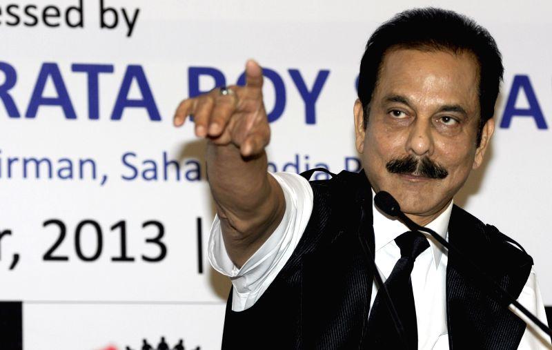 :Sahara India Pariwar chairman Subrata Roy during a press conference in Kolkata on Nov.29, 2013. (Photo: IANS).