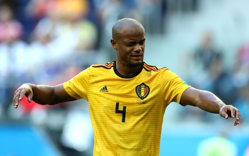 SAINT PETERSBURG, July 14, 2018 (Xinhua) -- Vincent Kompany of Belgium is seen during the 2018 FIFA World Cup third place play-off match between England and Belgium in Saint Petersburg, Russia, July 14, 2018. (Xinhua/Fei Maohua/IANS)
