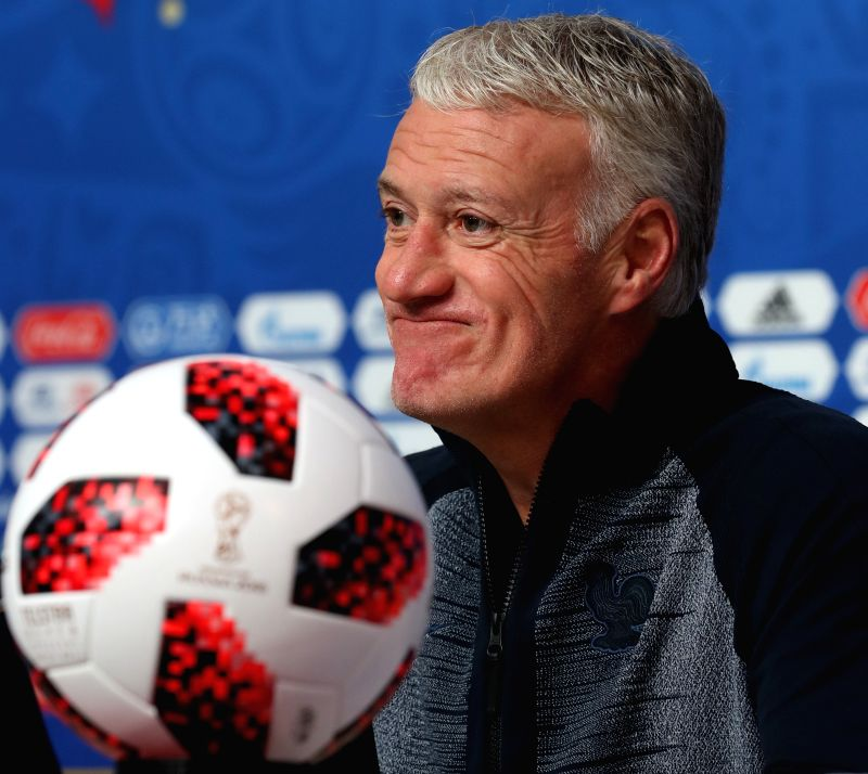 SAINT PETERSBURG,July 9, 2018 France's head coach Didier Deschamps attends a press conference prior to the 2018 FIFA World Cup semi-final between France and Belgium in Saint Petersburg, ...