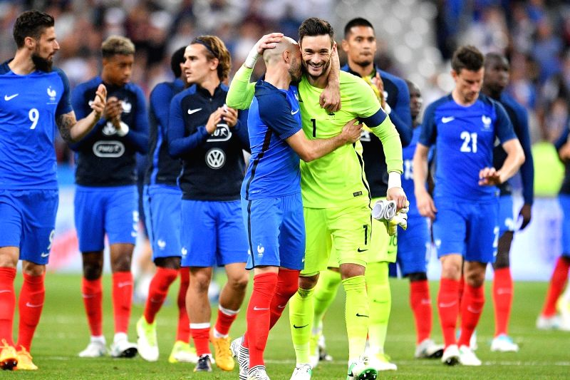 SAINT-Players of France celebrate after the international friendly match between France and England at the Stade de France in Saint-Denis, France on June 13, 2017. ...