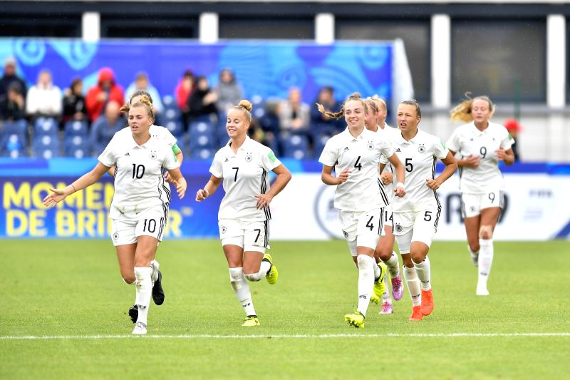 SAINT-Players of Germany celebrate scoring during a Group D match at the FIFA U-20 Women's World Cup France 2018 in Saint-Malo, France on Aug. 9, 2018. Germany won 2-0.