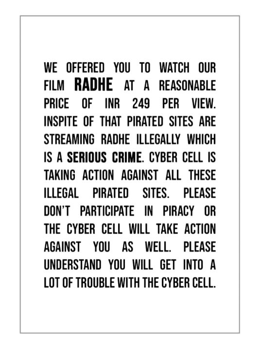 Salman Khan warns of consequences after 'Radhe' streamed on pirated sites.(photo:Instagram)